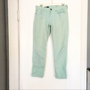 J. Crew Toothpick Mint Green Ankle Jeans